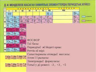 ФОСФОР Таңбасы: Периодтық жүйедегі орны: Реттік нөмірі: Салыстырмалы атомдық