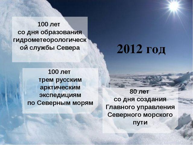 2012 год 100 лет содня образования гидрометеорологической службы Севера 100...