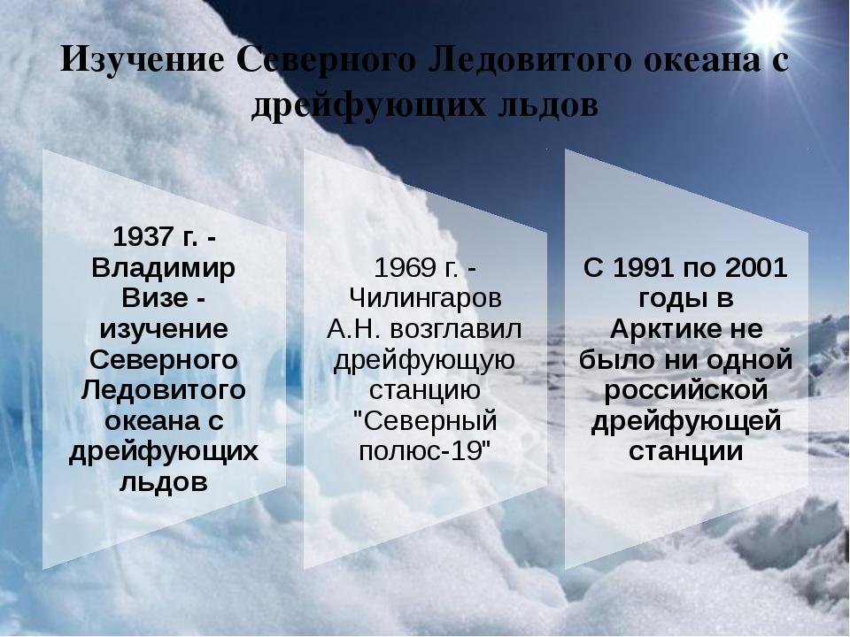 Изучение Северного Ледовитого океана с дрейфующих льдов Идея полярного исслед...