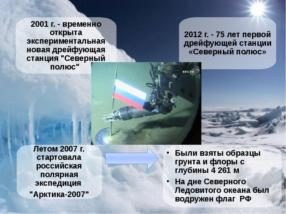 """2001 г. - временно открыта экспериментальная новая дрейфующая станция """"Север..."""