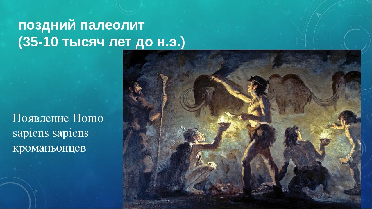поздний палеолит (35-10 тысяч лет до н.э.) Появление Homo sapiens sapiens - к...