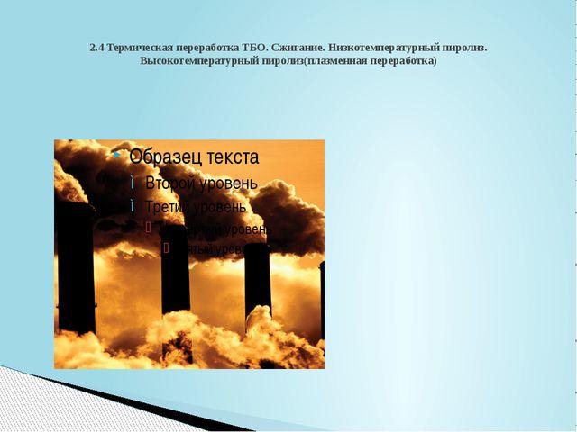 2.4 Термическая переработка ТБО. Сжигание. Низкотемпературный пиролиз. Высоко...