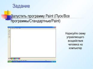 Задание Запустить программу Paint (Пуск/Все программы/Стандартные/Paint) Нари