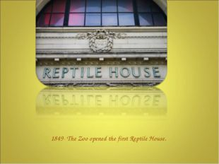 1849- The Zoo opened the first Reptile House.