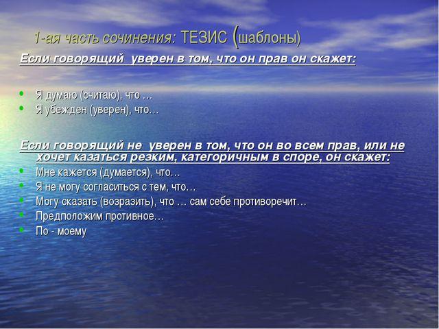 1-ая часть сочинения: ТЕЗИС (шаблоны) Если говорящий уверен в том, что он пр...