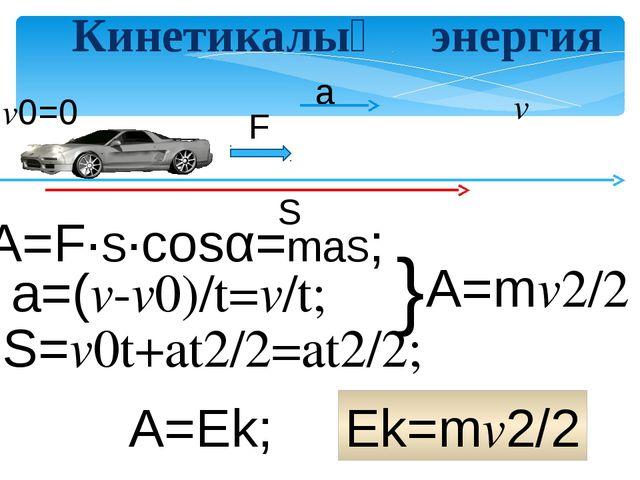 Кинетикалық энергия v0=0 v A=Ek; Ek=mv2/2 F S a S=v0t+at2/2=at2/2; A=F∙S∙cos...