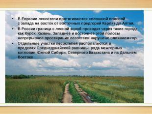 В Евразиилесостепи протягиваются сплошной полосой сзападанавостокот вост