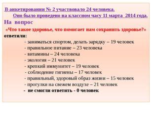 В анкетировании № 2 участвовало 24 человека. Оно было проведено на классном
