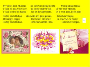 My dear, dear Mummy So lieb wie meine Mutti Моя родная мама, I want to kiss