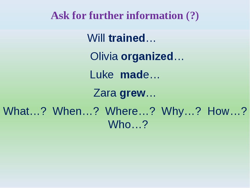 Ask for further information (?) Will trained… Olivia organized… Luke made… Za...