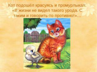 Кот подошёл красуясь и промурлыкал: «В жизни не видел такого урода. С таким и