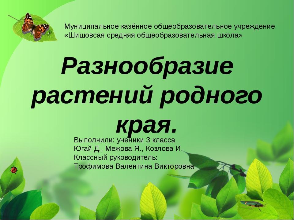Разнообразие растений родного края. Выполнили: ученики 3 класса Югай Д., Меж...