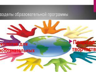 Разделы образовательной программы Экология для любознательных Природа и творч