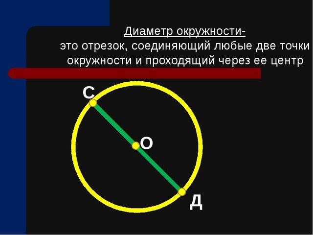 Диаметр окружности- это отрезок, соединяющий любые две точки окружности и про...