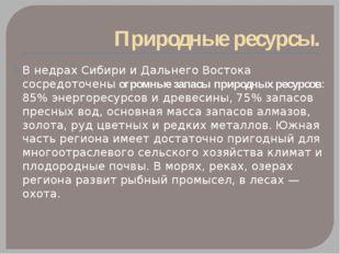 Природные ресурсы. В недрах Сибири и Дальнего Востока сосредоточены огромные