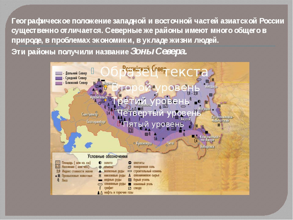 Географическое положение западной и восточной частей азиатской России существ...