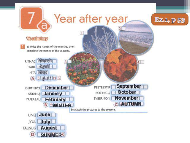 December January February WINTER September October November AUTUMN June July...