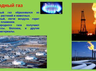 Природный газ Природный газ образовался из остатков растений и животных. Бесц