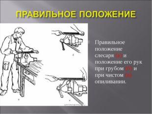 Правильное положение слесаря (а) и положение его рук при грубом (б) и при чис