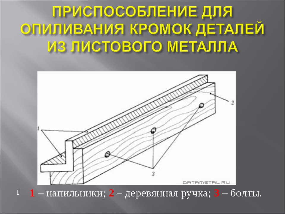 1 – напильники; 2 – деревянная ручка; 3 – болты.