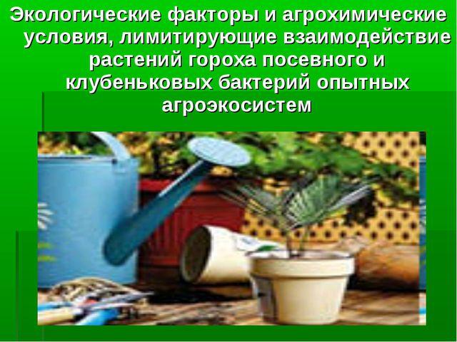 Экологические факторы и агрохимические условия, лимитирующие взаимодействие р...