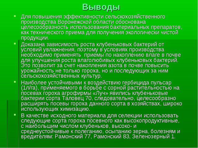 Выводы Для повышения эффективности сельскохозяйственного производства Воронеж...