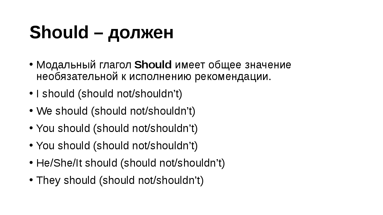 Should – должен Модальный глагол Should имеет общее значение необязательной к...
