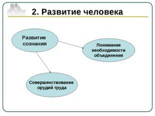 2. Развитие человека Развитие сознания Понимание необходимости объединения Со