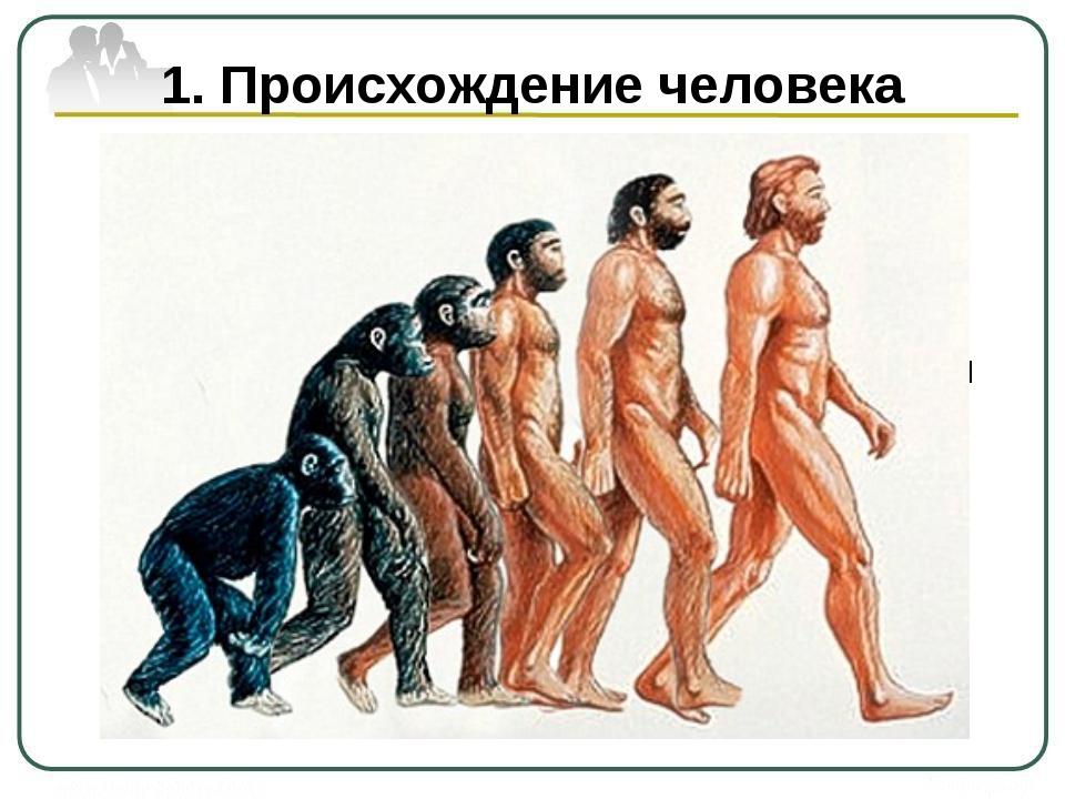 1. Происхождение человека С момента появления на земле и до начала ХХI века ч...