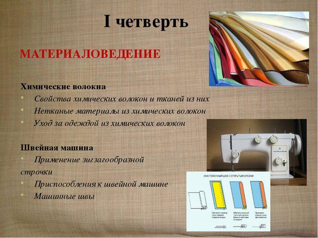 I четверть МАТЕРИАЛОВЕДЕНИЕ Химические волокна Свойства химических волокон и...