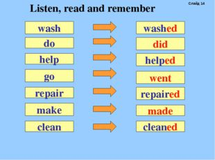 do washed help go repair make wash did helped went repaired made clean cleane