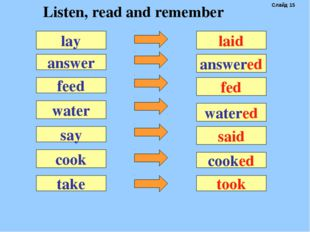 answer laid feed water say cook lay answered fed watered said cooked take too