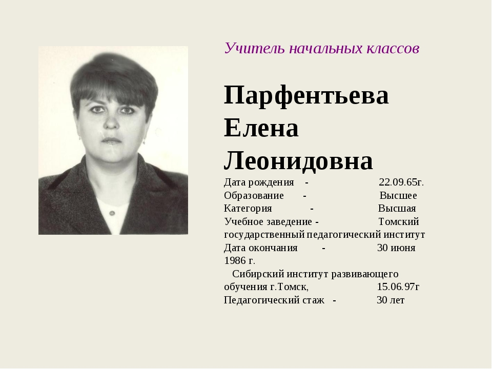 Учитель начальных классов Парфентьева Елена Леонидовна Дата рождения - 22.09....