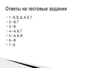 1 - Б, В, Д, А, Е, Г 2 – В, Г 3 – В 4 – А, Б, Г 5 – А, Б, В 6 – В 7 - Б Ответ