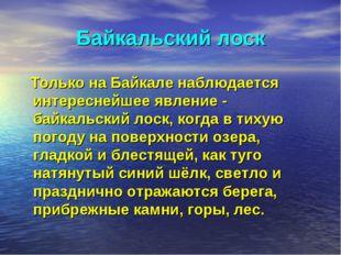 Байкальский лоск Только на Байкале наблюдается интереснейшее явление - байкал