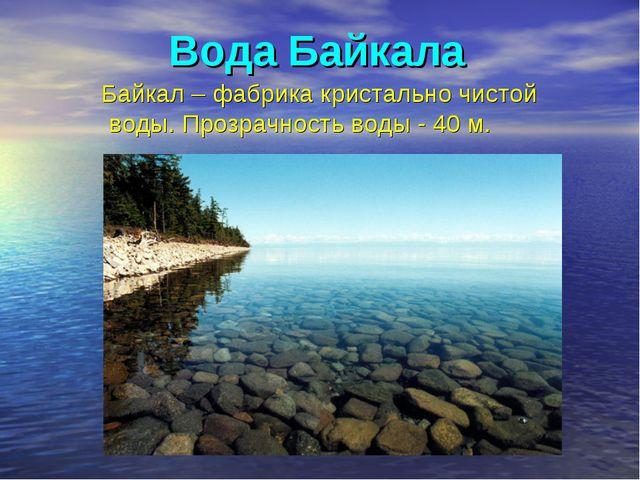 Вода Байкала Байкал – фабрика кристально чистой воды. Прозрачность воды - 40 м.