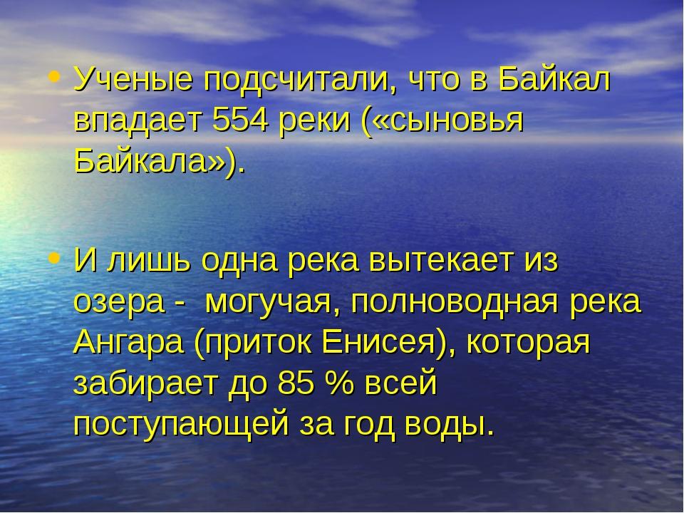 Ученые подсчитали, что в Байкал впадает 554 реки («сыновья Байкала»). И лишь...