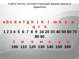 Найти число, соответствующее вашим имени и фамилии a b c d e f g h i k l m n