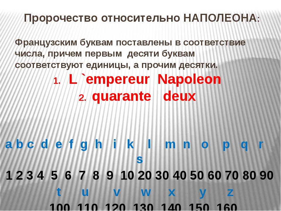 Французским буквам поставлены в соответствие числа, причем первым десяти букв...