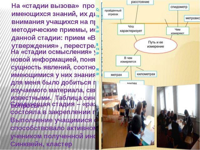 На «стадии вызова» происходила актуализация уже имеющихся знаний, их диагност...