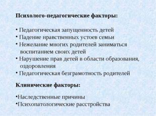 Психолого-педагогические Психолого-педагогические факторы: Педагогическая зап