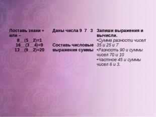 Поставь знаки + или – 8__(5__2)=1 16__(3__4)=9 13__(9__2)=20Даны числа 9 7 3