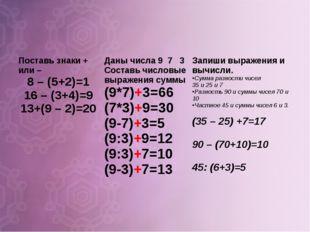 Поставь знаки + или – 8 – (5+2)=1 16 – (3+4)=9 13+(9 – 2)=20Даны числа 9 7 3