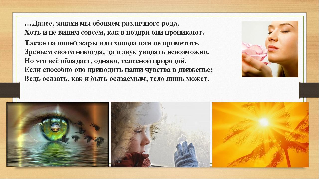 …Далее, запахи мы обоняем различного рода, Хоть и не видим совсем, как в ноз...