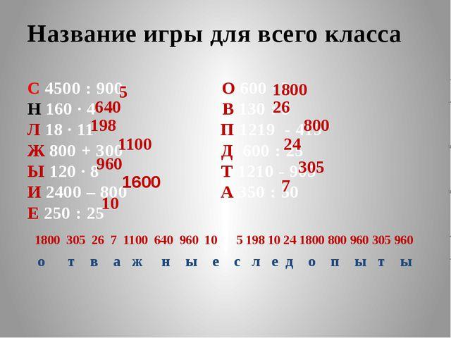 Название игры для всего класса С 4500 : 900 О 600 ∙ 3 Н 160 ∙ 4 В 130 : 5 Л 1...