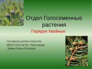 Отдел Голосеменные растения Порядок Хвойные Составила учитель биологии МБОУ С