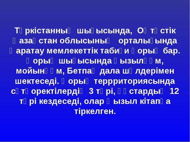 Түркістанның шығысында, Оңтүстік Қазақстан облысының орталығында Қаратау мем...