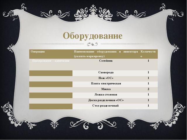 Оборудование Операция Наименование оборудования и инвентаря (указать маркиров...