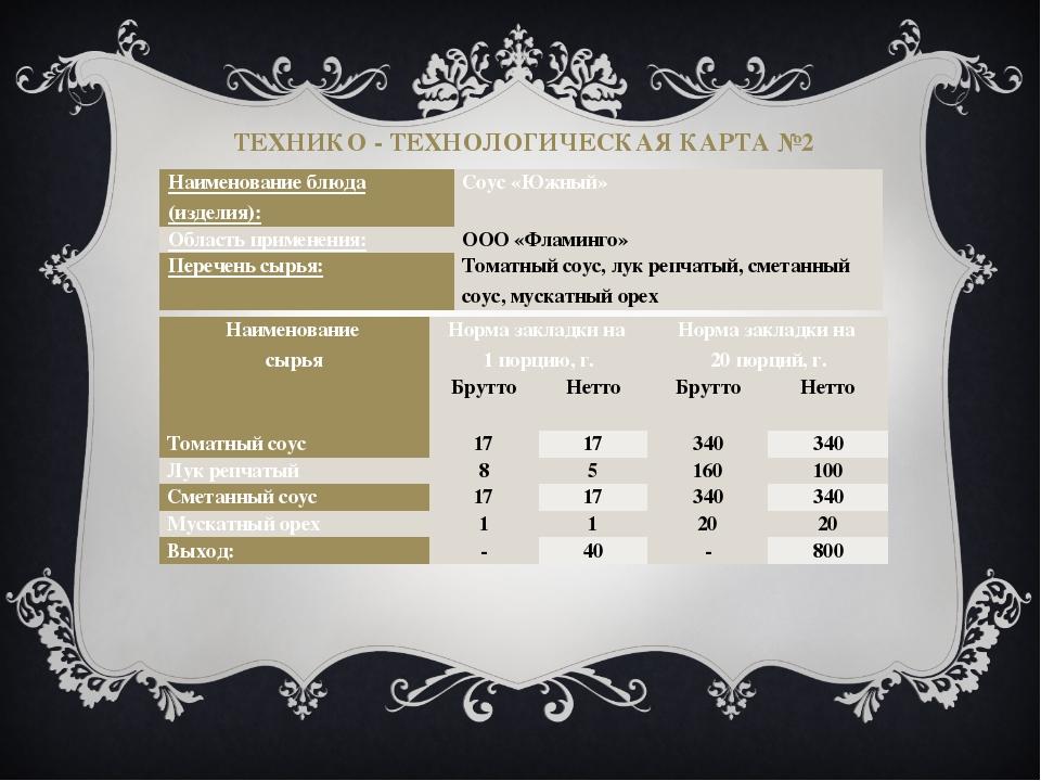 ТЕХНИКО - ТЕХНОЛОГИЧЕСКАЯ КАРТА №2 Наименование блюда (изделия): Соус «Южный»...