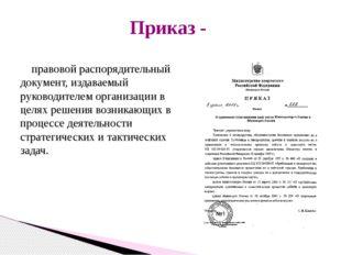 правовой распорядительный документ, издаваемый руководителем организации в ц